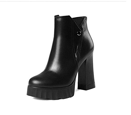 Ladies autumn and winter thick with a round leather boots waterproof thick platform high heels women boots Black MpwKCaY0
