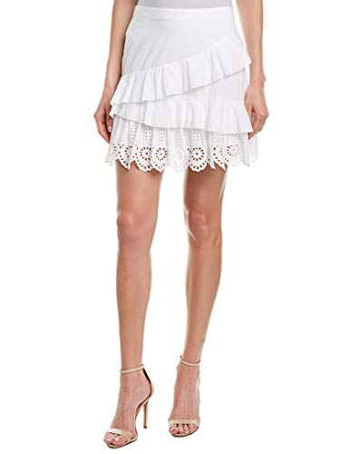 Lace Ruffled Mini Skirt - BCBGeneration Women's Ruffled Mini Skirt, Optic White, 6