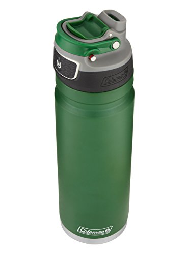 Coleman FreeFlow AUTOSEAL Insulated Stainless Steel Water Bottle, Heritage Green, 24 oz.