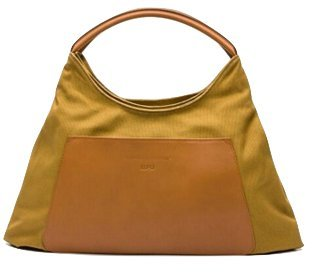 LUPO Arena Tierra Hobo Bag with Genuine Leather Trim, Mustard Yellow Ladies Shoulder Bag by LUPO Barcelona