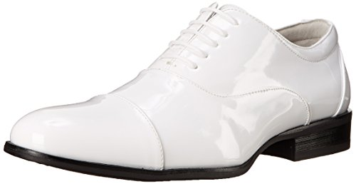 Stacy Adams Men's Gala Tuxedo Oxford, White Patent, 7.5 M US