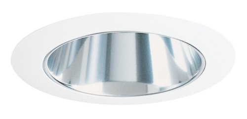 Juno Lighting Group 600C-WWC-WH Aculux 6IN Corner Wall Wash Recessed Trim, Clear Alzak Reflector with White Trim Ring