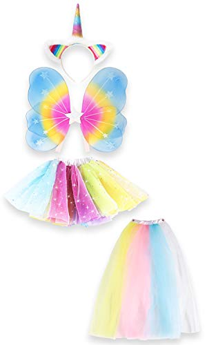 Unicorn Outfit for Girls Dress Up Includes Unicorn Headband, Rainbow Tutu and Fairy Wings, Great Birthday Gifts for Girls