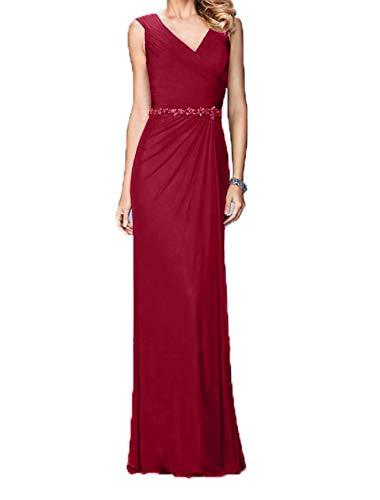 Ballkleider Chiffon Elegant Festlichkleider Lang Charmant Weinrot Abendkleider Damen Abschlussballkleider qFBXWX