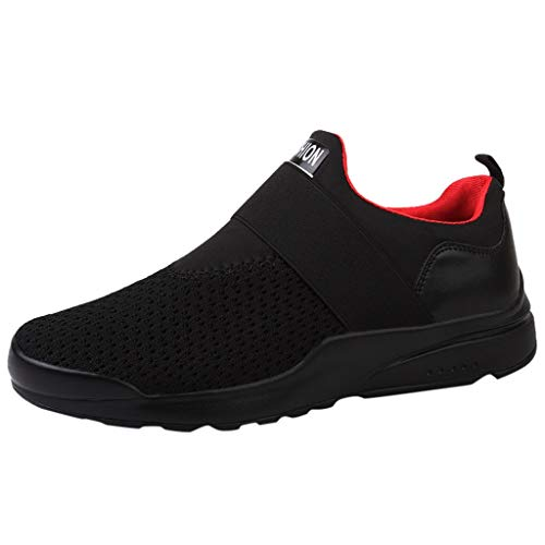 iHPH7 Shoes Strike On Training Fashion Letter Solid Elastic Running Sport Flat Ankle Round Toe Casual Shoes Men (45,Black)