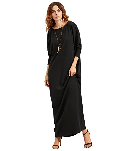 c99b1bbbcf9 Verdusa Women s Casual Long Sleeve Oversized Loose Pocket Shift Maxi Dress  Black L