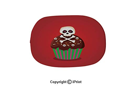 Customized Modern Non Slip Pure Color Oval Bathroom Bath Shower Bedroom Mat,Cute Happy Halloween Cupcake with Skull and Cross Bones Isolated,15.7
