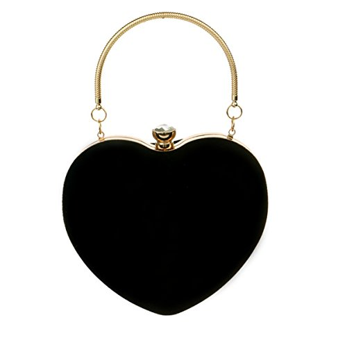 Kennedy Fashion Heart Shape Clutch Bag Velvet Tote Handbag Chain Shoulder Bag Evening Bag Purse (black)