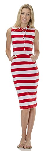 (75781R) Classic Designs Juniors Stretch Jersey Hoodie Maxi Dress / Cover Up in Red, Large