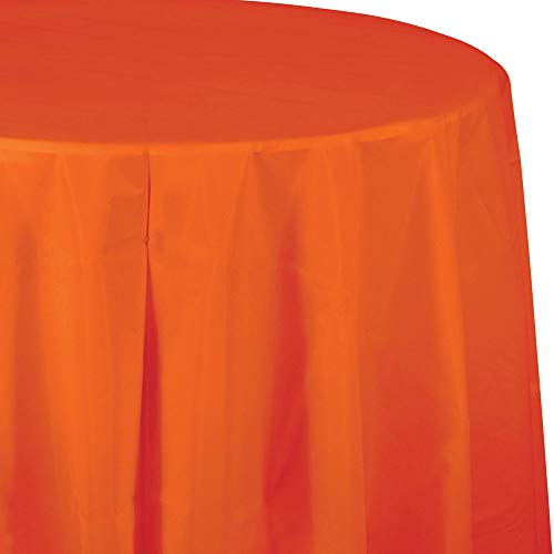 - Creative Converting Tissue Poly Table Covers Octy Round Plastic Tablecloth, 3 Ply 82 Inch x 82 Inch 60 Inch Round Tables - 3 Pack Quantities (Sunkissed Orange, 1-3 Pack)