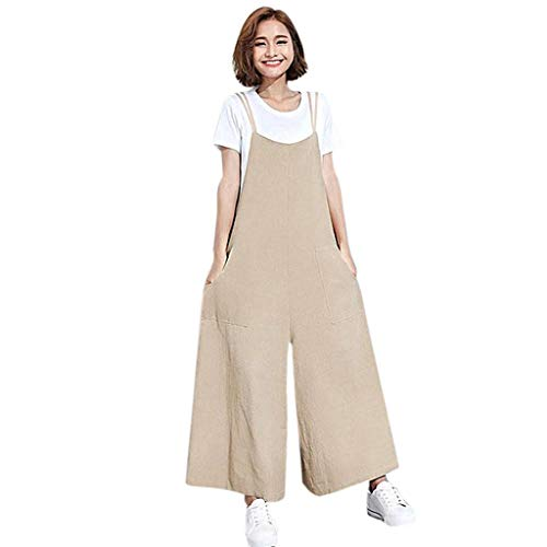 Womens Wide Leg Long Pants Summer Jumpsuits Loose Halter Neck Sleeveless Rompers Overalls Trousers by Gyouanime Beige