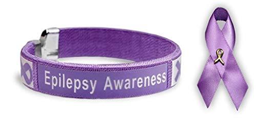 Epilepsy Awareness Purple Ribbon Bangle Bracelet & Epilepsy Awareness Satin Pin