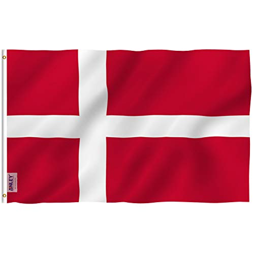 Anley Fly Breeze 3x5 Foot Denmark Flag - Vivid Color and UV Fade Resistant - Canvas Header and Double Stitched - Danish Dane National Flags Polyester with Brass Grommets 3 X 5 Ft