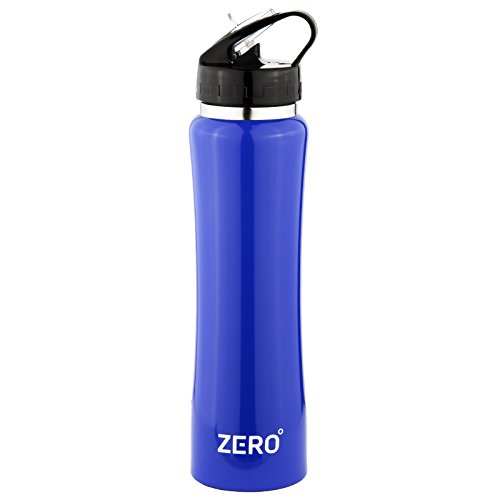 Zero Degree Stainless Steel Water Bottle with Straw and Leak Proof Lid, Vacuum Insulated Double Wall Sport Bottle Keeps Drinks Cold for 24 Hours (18oz Blue)