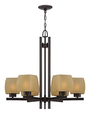 Lite Source LS-18486 Solo 6-Light Chandelier with Light Amber Glass Shade, Dark Bronze Finish
