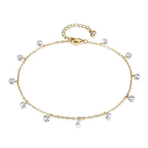 Valloey Women Girls Handmade Dainty Anklet Silver 14K Gold Filled Bead Boho Beach Cubic Zirconia Foot Chain Adjustable Ankle Bracelet for ()
