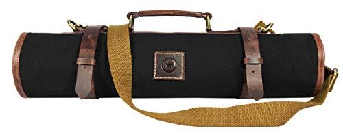 Leather Knife Roll Storage Bag | Elastic and Expandable 10 Pockets | Adjustable/Detachable Shoulder Strap | Travel-Friendly Chef Knife Case Roll By Aaron Leather (Raven, Canvas) by AARON LEATHER GOODS VENDIMIA ESTILO (Image #9)