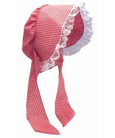 Adult Gingham Red & White Bonnet Costume - Dress Gingham White Red