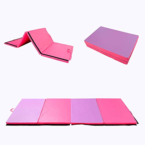 Polar Aurora 4'x8'x2 Multipe Colors Thick Folding Gymnastics Gym Exercise Aerobics Mats Stretching Fitness Yoga 10 Colors (Pink/Purple)