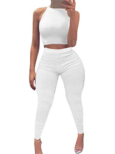 White Party Outfits - GOBLES Women's Halter Bodycon 2 Piece