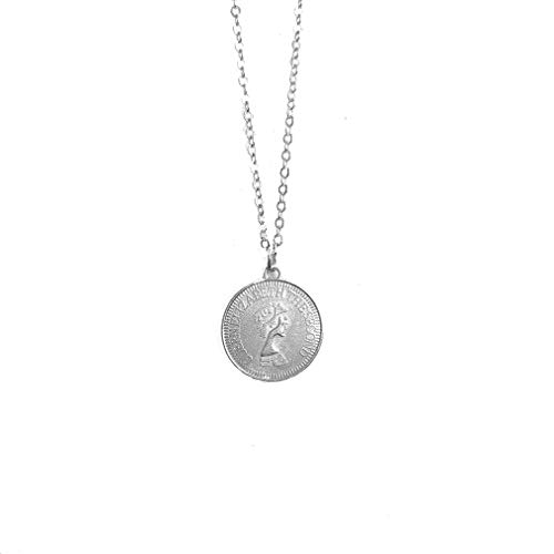 (GloryMM Round Coin Pendant Necklace for Women Simple Portrait Charm Necklace Dainty Layering Necklaces Gifts,Silver)