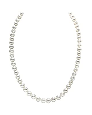"""THE PEARL SOURCE 14K Gold AAA Quality Round White Freshwater Cultured Pearl Necklace for Women in 18"""" Princess Length"""