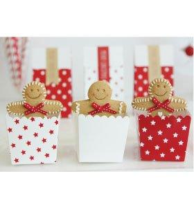 6 Schicke Rote Snack-Schachteln mit Wei/ßen Sternchen