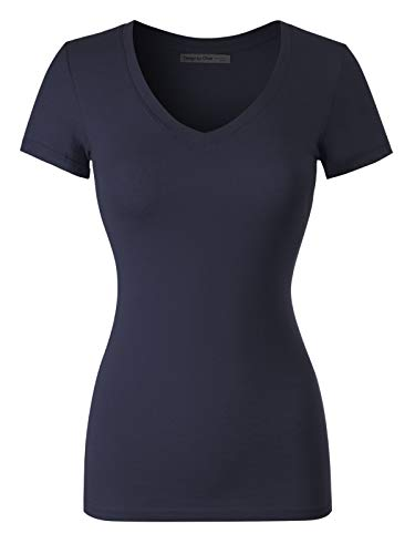 Design by Olivia Women's Basic Solid Multi Colors Fitted Short Sleeve T-Shirt [S-3XL] True Navy 2XL