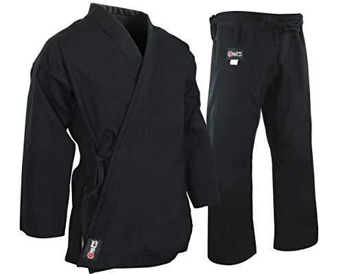 (MACS Super Heavyweight Karate Uniform - Black Professional Kimono - Advanced 100% Cotton 14oz Karate Gi - Perfect for Competition or Training)