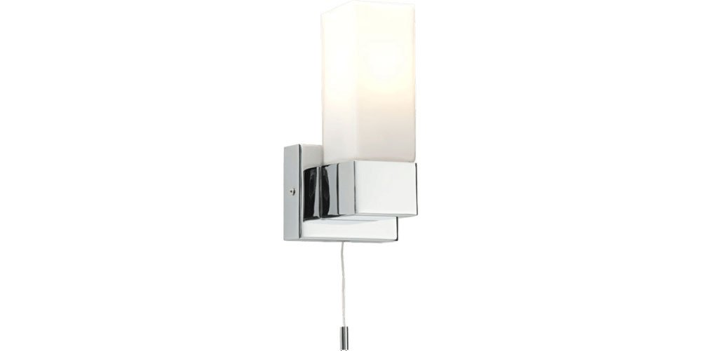 Saxby Square Single IP44 Wall Light 40W Chrome & white opal dupex glass 39627