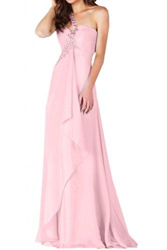 Toscana nupcial novia un-hombro por la noche vestidos de gasa vestido de largo bola de vestidos de fiesta Rosa