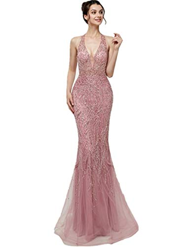 f2dc41dd00f ... Women s Pink Mermaid Evening Dress Long Halter Party Prom Gown Sexy  Bridal Wedding Dress Vestido De Noite.   
