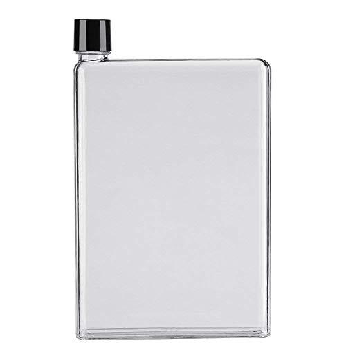 (SAIBANG Reusable Flat Plastic Water Bottle, Special Book Shape Design Plastic Memo Flat Portable Water Bottle (750ml))
