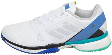 adidas aSMC Barricade Boost Shoe - Women's Tennis 6.5 White/Stone/Ray Blue