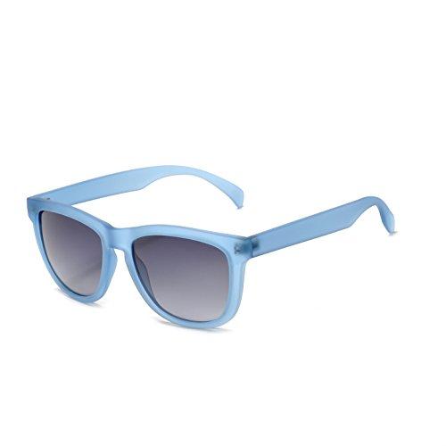 KENTKING Wayfarer Sport Beach Sunglasses, Durable Momentum Memory Frame with Nylon Mirrored Lens Shades Designer (Matt Blue/Gradient Grey) ()