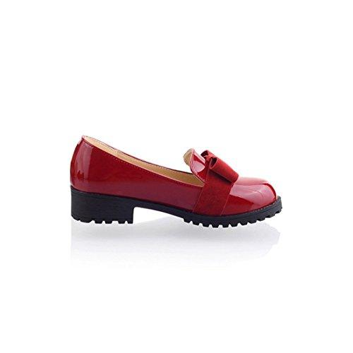 Milesline - Slip En Charol Con Punta Redonda, Para Mujer, Zapatos Sweet Bow - Slip En Talón, Rojo