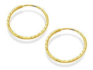 Diamond Cut 9ct Gold Hoops Sleeper Earrings 10mm Hm5lgK9p7K