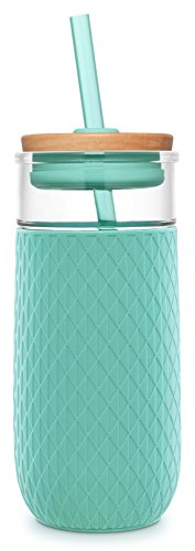 Ello Devon 20OZ Glass Tumbler with Straw, Mint, 20 Oz. Cold Tumbler