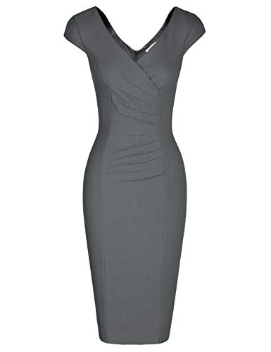MUXXN Women's 1950's Vintage V Neck Ruched Sheath Formal Pencil Dress