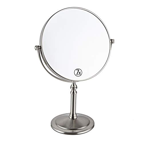 Large Double-Sided Makeup Mirror with 7x Magnification, Magnifying Tabletop Swivel Vanity Mirror, 8 inch, Nickel Finish