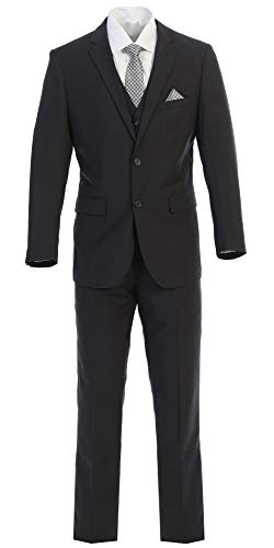 Elegant Mens Charcoal Gray Two Button Three Piece Suit (44 REGULAR)