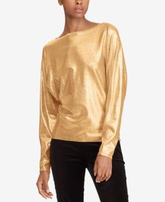 LAUREN RALPH LAUREN Womens Metallic Sparkly Sweater Gold XL