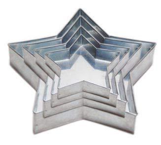SET OF 4-PIECE STAR SHAPE CAKE BAKING PANS BY EURO TINS 6'' 8'' 10'' 12'' (3'' DEEP)