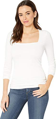(Three Dots Women's Refined Jersey Long Sleeve Square Neck Top White X-Small)