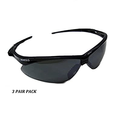 3 Pair Jackson Nemesis 3000356 Safety Glasses Black Smoke Mirror Lens Gray