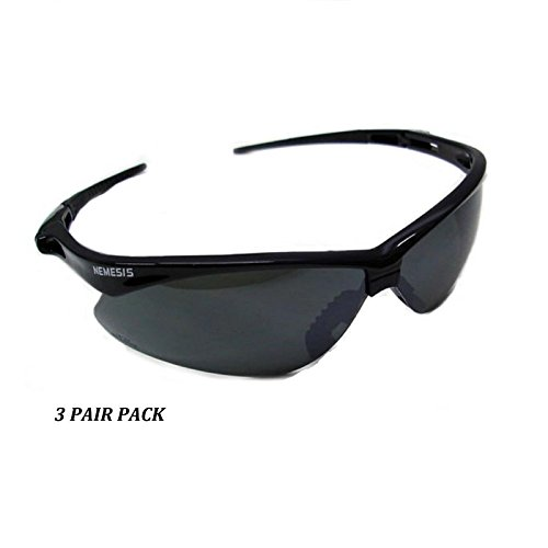 3 PAIR JACKSON NEMESIS 3000356 SAFETY GLASSES BLACK SMOKE MIRROR LENS - Nemesis Sunglasses Polarized