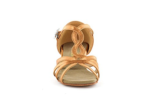 Scarpa da ballo con listini incrociati 4 fasce , in raso flesh tc 3,5 cm