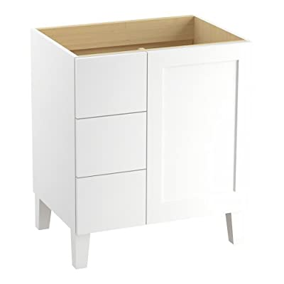 KOHLER K-99530-LGL-1WA Poplin Vanity with Furniture Legs 1 Door and 3 Drawers on Left, 30-Inch, Linen White - Combines with Solid/Expressions(TM) and Ceramic/Impressions(TM) vanity tops (sold separately) for a complete vanity Frameless construction with full-overlay doors Three-way adjustable slow-close door hinges with 110-degree opening capability for easy cabinet access - bathroom-vanities, bathroom-fixtures-hardware, bathroom - 31D6tE9hEhL. SS400  -