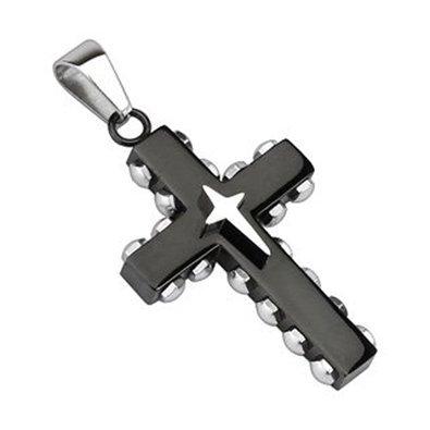 Krezy Case Men's Cross 316L Stainless Steel Pendant, Star Cross on Black IP Bolted Cross neckles, gifts for him birthday gift (Cross 5607)