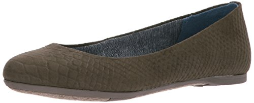 Dr. Scholl's Shoes Women's Giorgie Flat, Olive Microsuede Snake Print, 8 M US ()